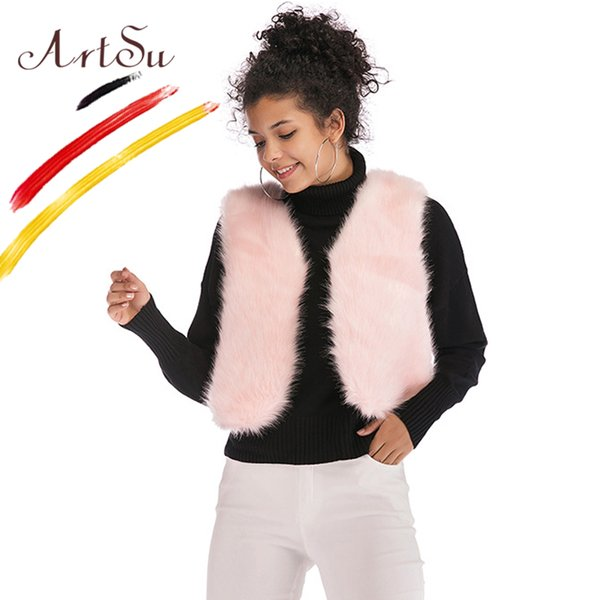 Elegant Pink Shaggy Women Sleeveless Faux Fur Coat Streetwear Autumn Winter Fashion Slim Short Faux Fur Vest Party White
