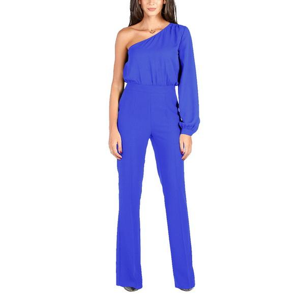 Fashion of women's Jumpsuits European and American women's explosive sexy one-shoulder long sleeve wide-legged pants Explosive casual sexy