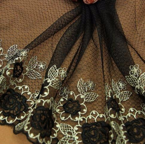 1yd Fabric Trim Dark Black Gold Embroidered Flowers Tulle Mesh Lace 22cm Wide Clothes Accessories Curtains Sofa Sewing Lace