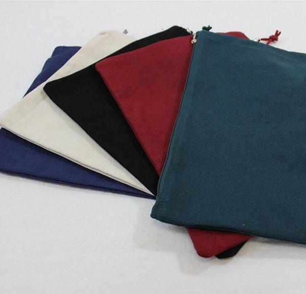 50PCS 34cm*24cm Multicolor Blank Natural Cotton Cosmetic Bag a4 Natural Canvas Zipper Pouch Plain Blank IPAD Zipper Makeup Bag