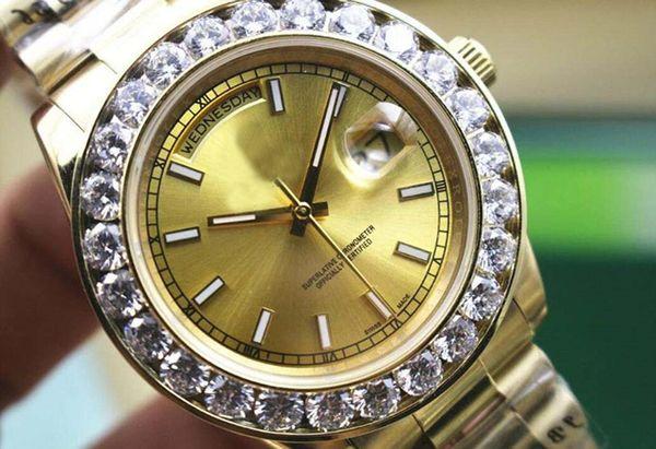 크리스마스 선물 원래 상자 인증서는 큰 다이아몬드 손목 시계 골드 스테인레스 스틸 스트랩 골드 36mm와 41mm 다이얼 남성