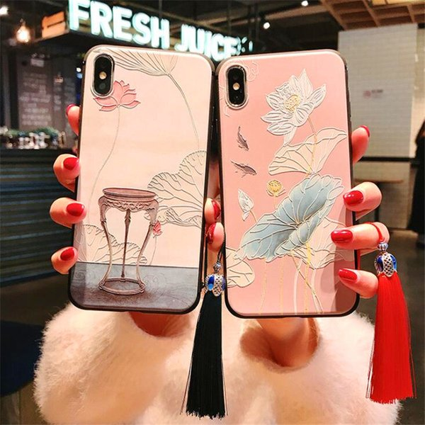 New Chinese Style Silicone Cellphone case cover for Huawei Nova4 P30 iPhone XS Samsung Galaxy S10 with Pendant