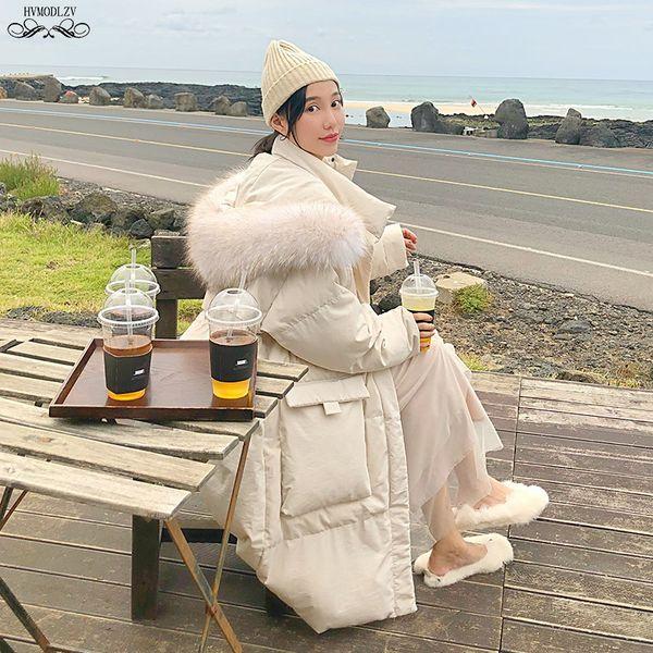 Winter White Jacket Coat Women 2019 New Hot Style Fur Hooded Plus Size Fashion Long Down Cotton Parkas Lady Top Female HJ204