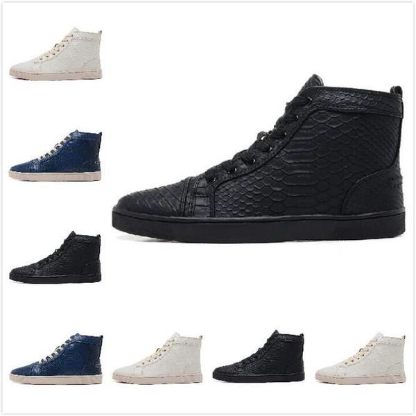 [оригинальная коробка]2016 новая черная змеиная кожа высокие модные кроссовки для мужчин и женщин, любителей роскошной Зимней повседневной обуви размер 36-46