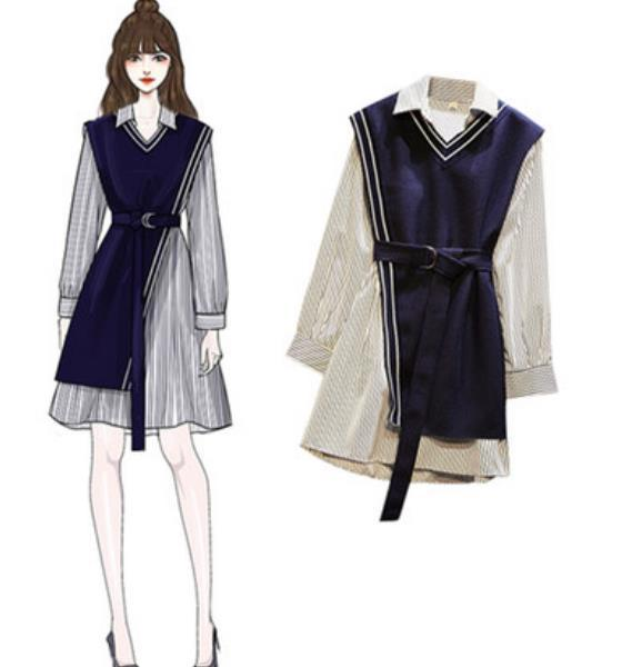 The new fat sister foreign-style age-reducing shirt waistcoat two-piece dress suit skirt