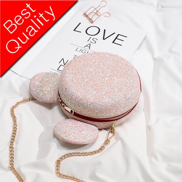 Sequin Round bag 2019 Summer New Quality Leather Women's Handbag Cute Big Shoulder Messenger bag Bolsos Mujer