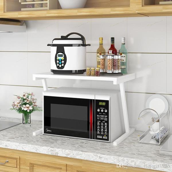 Nouveau blanc blanc noir étagère de four à micro-ondes électrique Cuisinière Stockage Double 2 couches de stockage de cuisine multi-fonctionnelle Articles ménagers