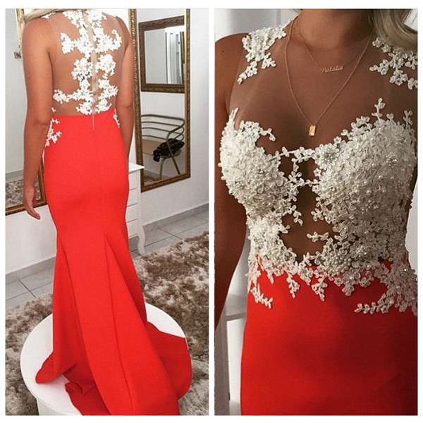 Sheer Jewel Lace Appliques Beaded Pearls Mermaid Prom Dresses Slim Sweep Train Long Ladies Evening Party Gowns 2019 Modest Special Occasion