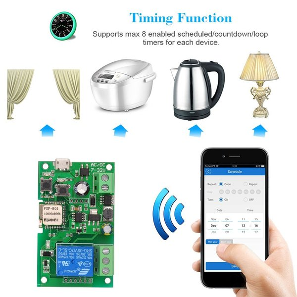 Sonoff Smart Wifi Switch Controller Electric Light Switch Wireless Remote  Control Relay Home Automation Modules Android/IOS APP For Alexa Alarm