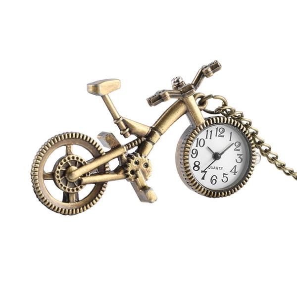 Unique Bike Bicycle Shaped Quartz Pocket Watch Retro Wheel Necklace Pendant Clock Fashion Gifts for Men Women Kid Bicycle Lovers