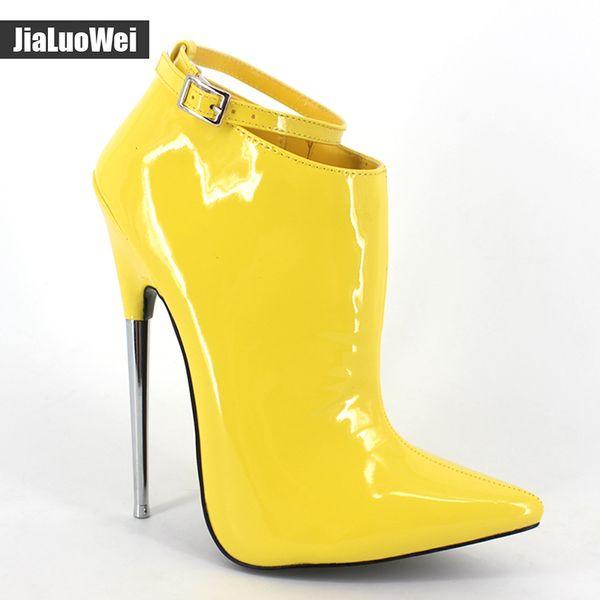 Jialuowei Neue Mode 18 cm Ultra High Heel Schuhe Spitz Metall Heels Zip Schnalle Frauen Sexy Fetisch Stiefeletten