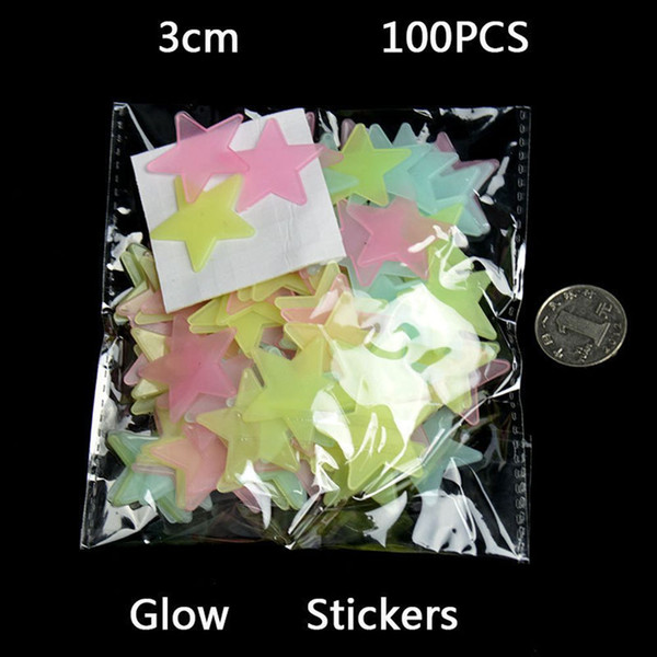best selling 3D Stars Glow Wall Stickers 100pcs Set Luminous Wall Stickers 3D Stars Glow Wall Stickers Luminous Fluorescent Decorative Special Festivel