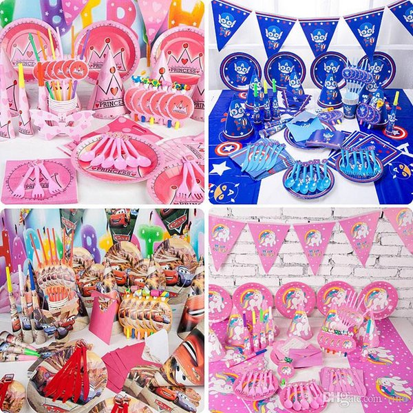 Kids Birthday Party Decoration Sets Supply 38 Designs Boys and Girls Unicorn 1st Birthday Party Supplies Cartoon Them Party Pack