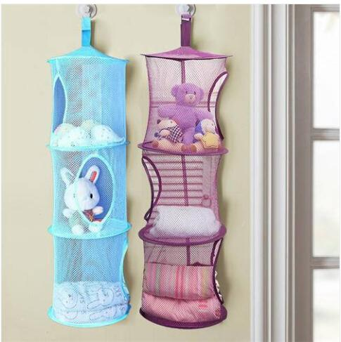 Sales!!! Wholesales Free shipping Foldable Storage Bag Hanging Basket Bedroom Cylindrical Cage