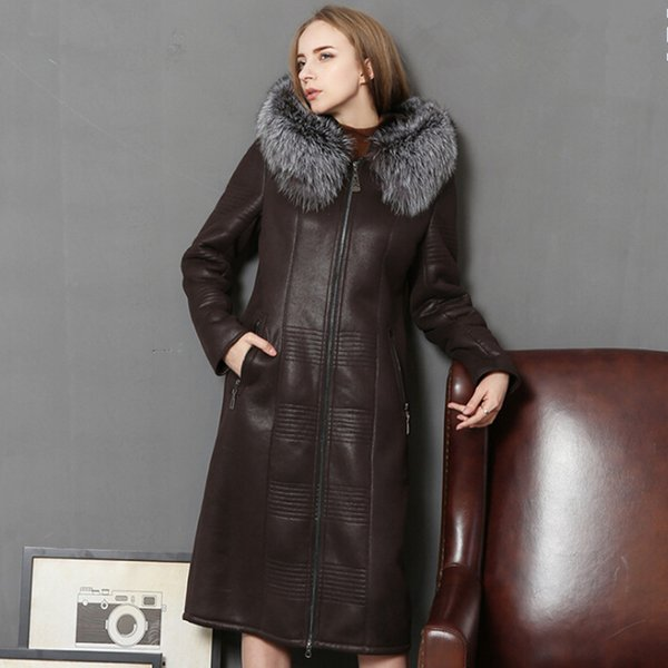 Genuine Leather Jacket Natural Sheepskin Coats For Women Thick Warm Wool Liner Winter Jackets Real Fox Fur Collar Slim Long Coat