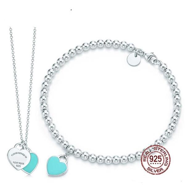 DORAPANG Bracciale a forma di cuore verde Collana 100% argento 925 ciondolo blu semplice per le donne eleganti gioielli regalo