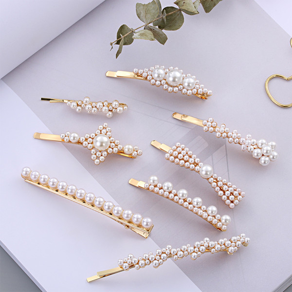 Sweet Pearl Metal Hair Clip For Women Girl Rhinestone Hairpin Barrette Hairgrip Bobby Pin Wedding Party Hair Styling Accessories