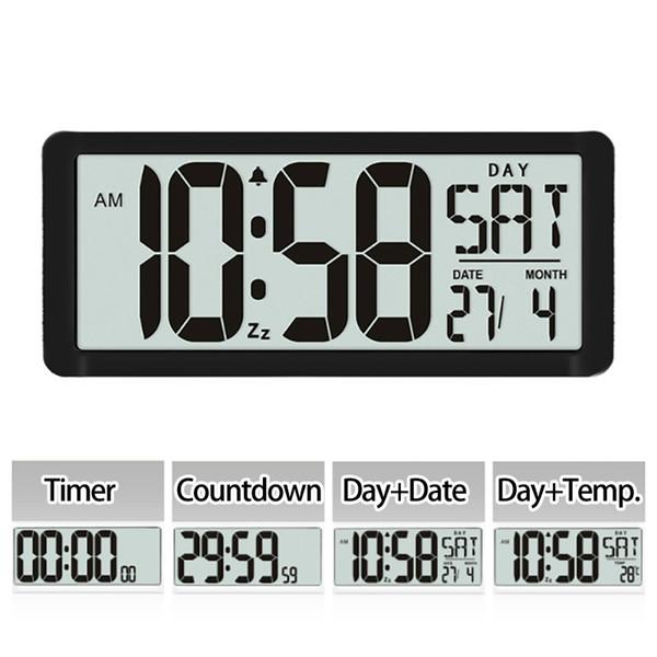 Série d'horloges murales carrées TXL, grand réveil numérique de 13,8 po, écran LCD, bureau décoratif haut de gamme multifonctionnel