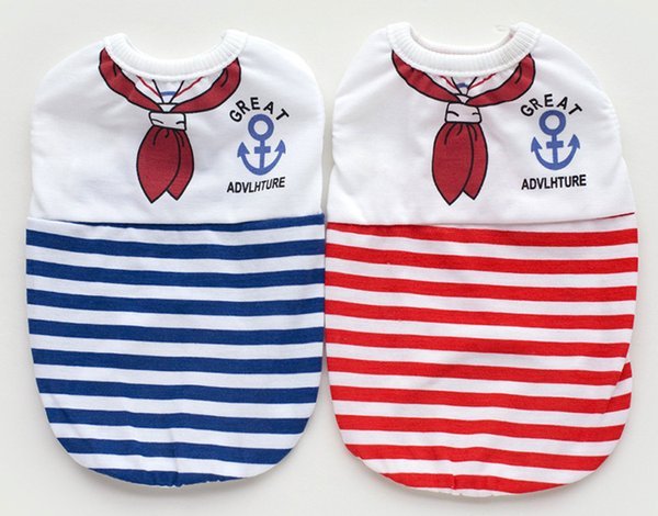 2 Colors Spring & Summer Flimsy Breathing Navy Style Pet Clothing Apparel Stripe Vest Good Student Cute Vests Pink Blue Skirt for Puppy
