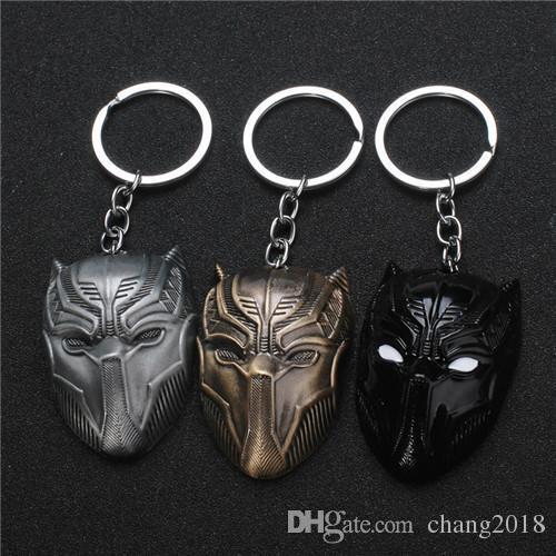 17 styles Fashion Movie The Avengers 3 American Captain Civil War Metal Keychain Bronze Silver Black Panther Mask Men Women Keyring jssl001