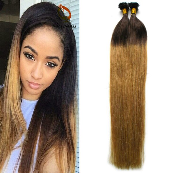 "ombre brazilian hair 1g/s 16"" 18"" 20"" Remy Nail Flat Tip Human Hair Extension European Human Keratin U Tip Pre Bonded Hair Extension 100pcs"