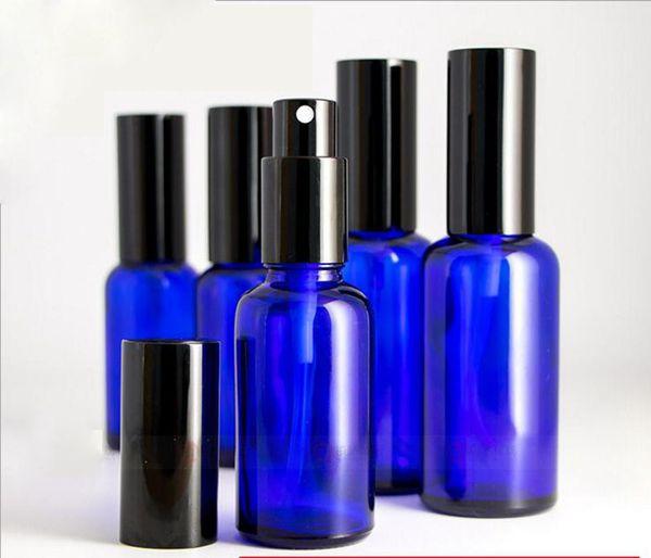 Wholesale 2019 10ml 15ml 20ml 30ml 50ml 100ml Blue Glass Spray Bottles Refillable Perfume Glass Bottle With Black Perfume Atomizer