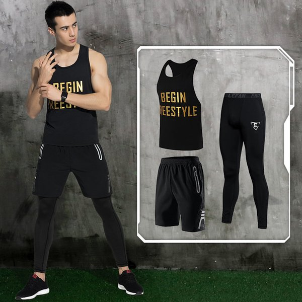 LEFAN Summer Men Sports Suits Quick-dry Running Gym Sets Male Basketball Training Suits Fitness Clothes Tracksuits 3pcs M-3XL