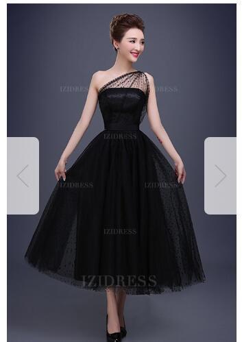 A-Line/Princess One Shoulder Tea-length Tulle Prom DressW44