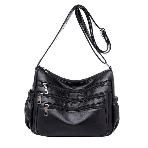 kkmhan brand 2019 new fashion woman single shoulder soft leather double zipper inclined handbag dropshipping torebka damska
