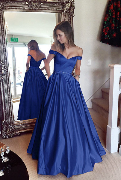 top popular Beaded Off Shoulder Satin Long Evening Dresses with Pockets Formal Evening Gowns Elegant Party Dress Avondjurk Blush Pink Royal Blue Purple 2020