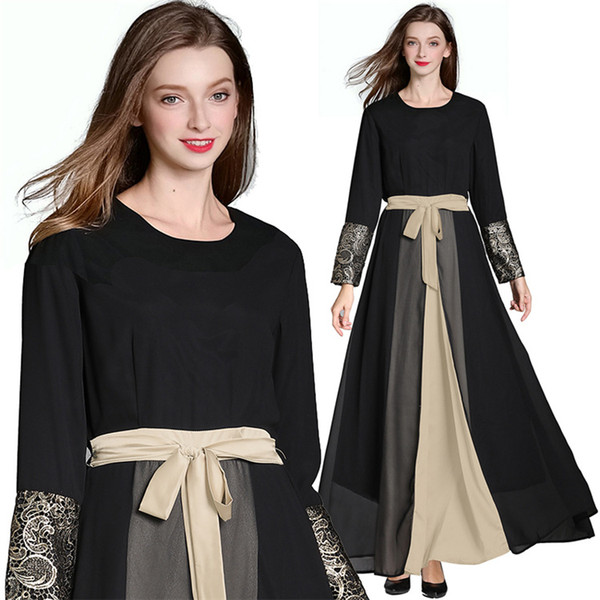Abiti da vento nazionale abbigliamento femminile europea e americana in chiffon lungo gonna A-tipo costumi abito abito malese di grandi dimensioni
