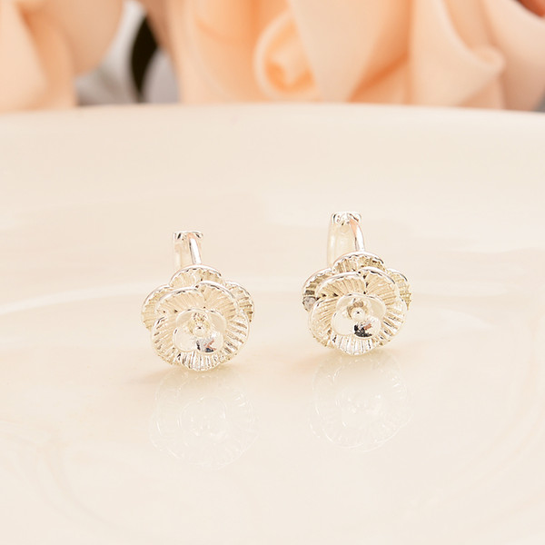 Silver plated rose flower personalized earrings wedding banquet party essential jewelry the best gift