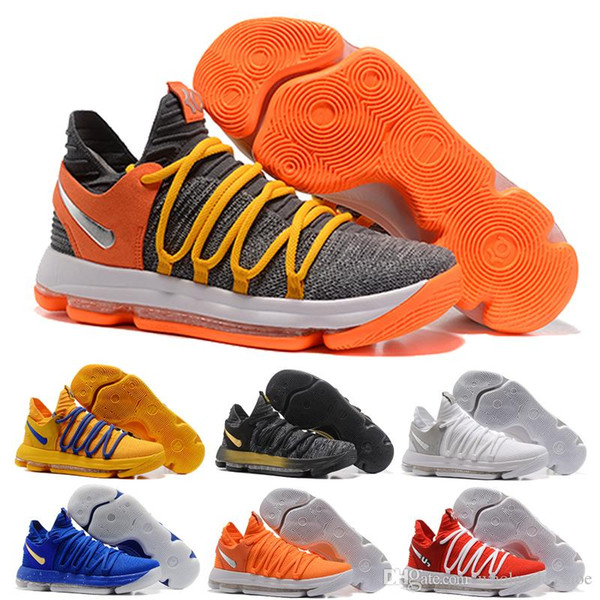f09aaa299971 2018 New Zoom KD 10 Anniversary PE Oreo Yellow Blue Mens Shoes Low Cut Kevin  Durant 10 X Kids Grade School Sport Sneakers