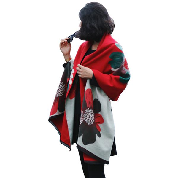 Этнический стиль кашемировый платок Цветочные шарфы для женщин Крупногабаритное одеяло Мыс Дамы Красный Шерстяной шарф из пашмины Пончо