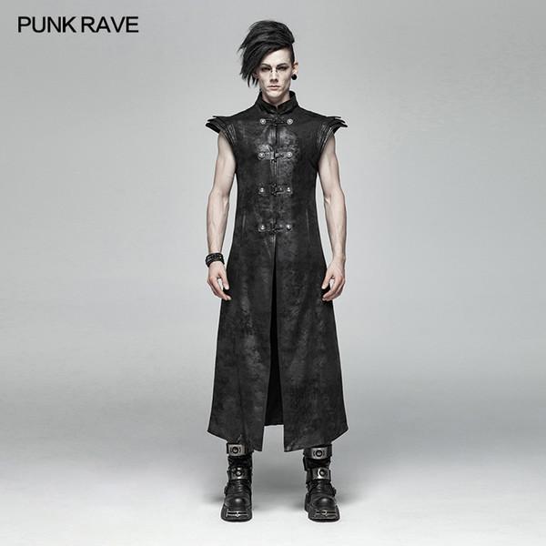 PUNK RAVE Punk Style Men's Armor Long Vest Fashion Gothic Black Pu Leather Men Outwear Jacket Coat