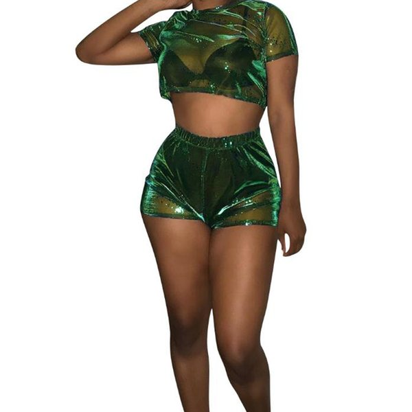 Women Sheer Clothes Set 2Pcs Transparent Short Sleeve Crop Top Shorts Trouser Ladies Outfit Suit See Through Clothing Summer New