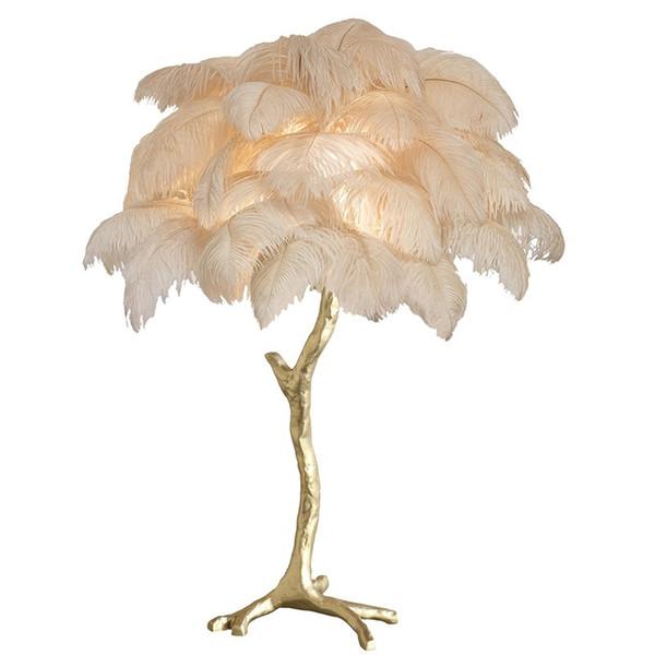 Перо настольная лампа спальня прикроватная лампа медь мода роскошная американская вилла отель клубный дом гостиная украшения лампы