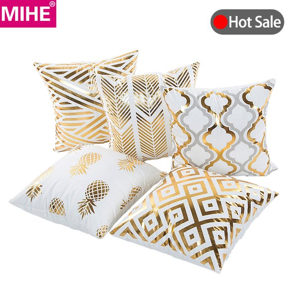 MIHE Christmas Cushion Cover Decorative Pillow Case Eco-Friendly Gold Sofa Seat Case Car Pillowcase Soft Bed Pillow BZT08