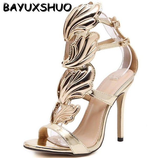 Bayuxshu Summer Women High Heels Gold Winged Leaves Cut-outs Stiletto Gladiator Sandals Flame Party High Heel Sandal Shoes Woman Y19070403