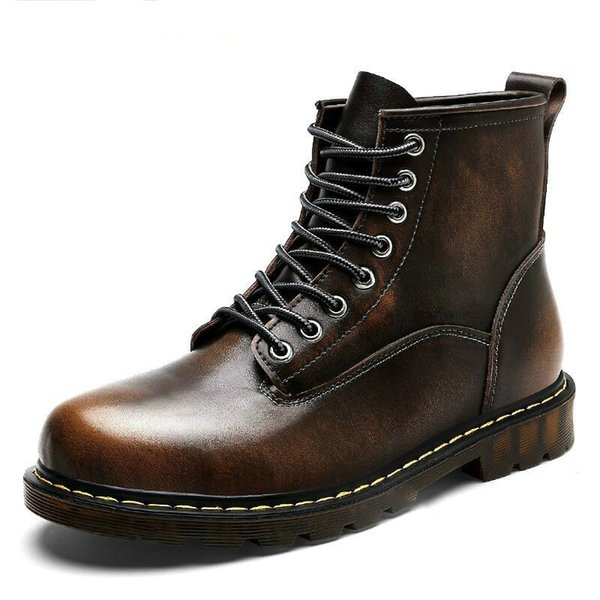 2019 Size38-46 Chunky Motorcycle Boots For Women Autumn 2018 Fashion Round Toe Lace-up Combat Martin Boots Ladies Shoes