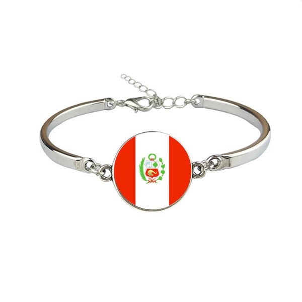 Peru National Flag World Cup Football Fan Time Gem Glass Cabochon Bracelets for Womens Mens Fashion Link Chain Adjustment Party Jewelry Gift