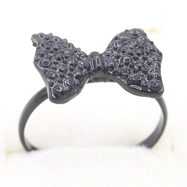 Vintage Black Full Diamond Crystal Bow Ring Creative Sweet Bow Headband Ring Gift For Girl Fashion Jewelry