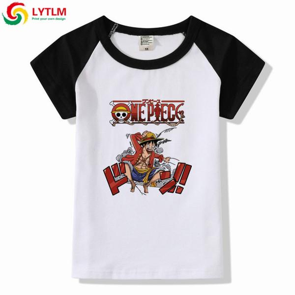 LYTLM One Piece T Gömlek Çocuklar Maymun D Luffy Gömlek Çocuklar Kısa Kollu Japon Harajuku Anime T Shirt Modis Küçük Kızlar Giyim