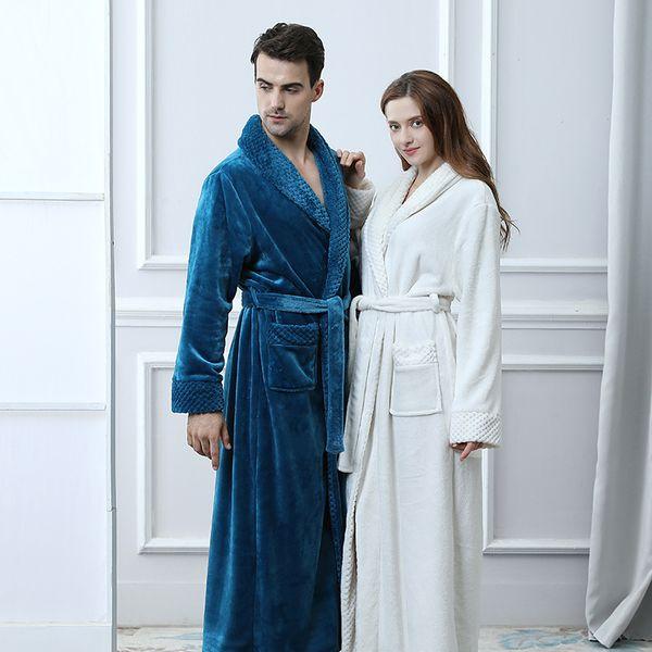 Удлиненный плюс размер зима толстая теплая фланель коралловый флис вафельный кимоно халат Мужчины Женщины роскошный халат мужской банный халат