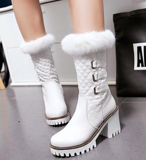 New Arrival Hot Sale Specials Super Fashion Influx Martin Cowgirl Beauty Rabbit Hair Princess Leather Snow Sweet Buckle Ankle Boots EU33-43