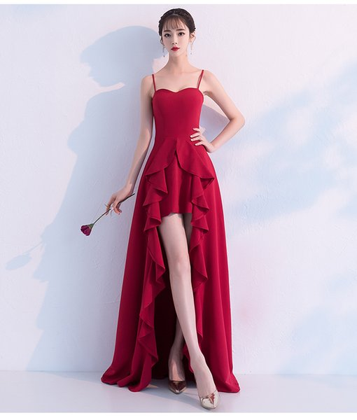 3 Sizes Red Summer Brides Toast Sexy Wedding Dress Slim Long Women Evening Dress Prom Gowns Formal Wear A0097