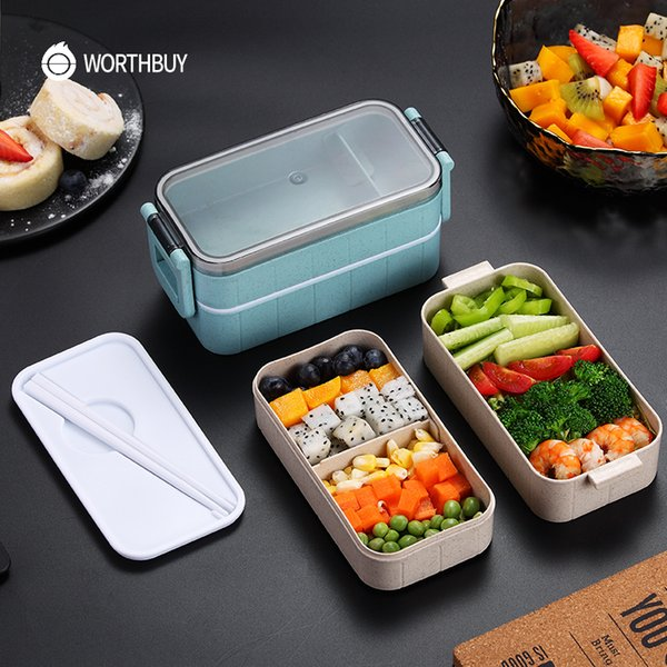 top popular Popular Japanese Microwave Bento Box Wheat Straw Child Lunch Box Leak-Proof Bento Lunch Box For Kids School Food Container 2021