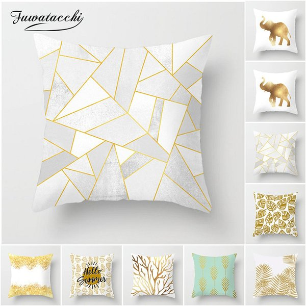 Fuwatacchi Gold Stamping Cushion Cover Leaf Tree Geometric Pillow Case Throw Wedding Decorative Pillowcase Cushion Covers