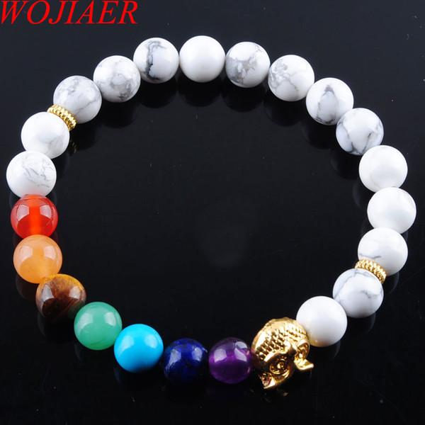 WOJIAER 8mm White Howlite Stone Round Beads Owl Bracelets 7 Chakra Healing Mala Meditation Prayer Yoga Women Jewelry DK3242