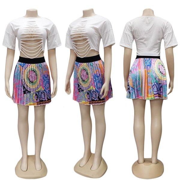 Falda plisada colorida
